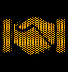 Hexagon halftone acquisition handshake icon vector