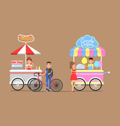 Hot dogs and cotton candy from street carts set vector