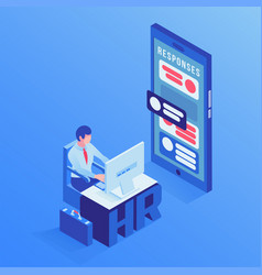 hr agent office isometric vector image