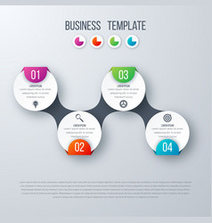 infographics timeline template with circles vector image