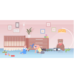 little children playing toys cute boy and girl vector image