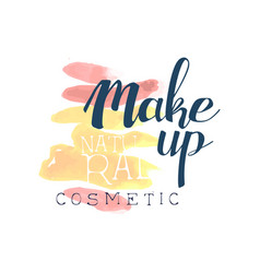 Make up natural cosmetic logo design label for vector
