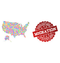 Migration composition of mosaic map of usa and vector