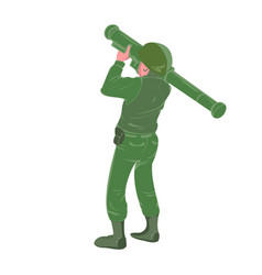 military soldier holding and aiming rocket vector image