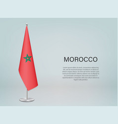 Morocco hanging flag on stand template vector