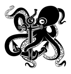 Octopus with anchor black sign vector