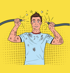 Pop art man holding broken electrical cable vector