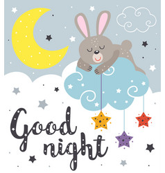 poster with a sleeping rabbit vector image