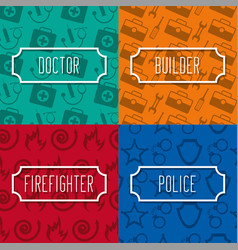 profession lettering work cards vector image
