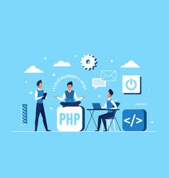 programmer coder people team work on application vector image
