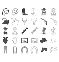 Rodeo competition monochromeoutline icons in set vector