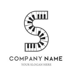 s letter logo design piano keyboard logo vector image