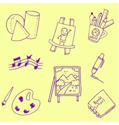 School doodles with hand draw vector