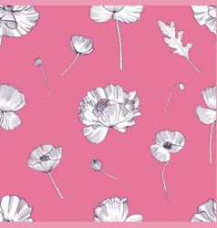 Seamless pattern with poppies flower colorful vector