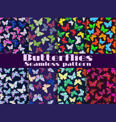 seamless patterns with butterflies set vector image vector image