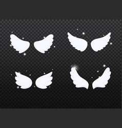 set hand drawn bird or angel wings with light vector image
