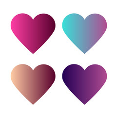 set of 4 heart with colorful gradients vector image