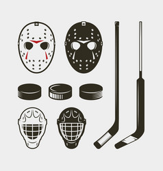 Set of hockey equipment and gear helmet mask and vector