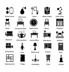 set of interior and decoration glyph icons 6 vector image