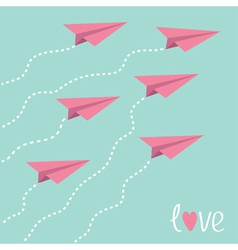Six flying paper planes in the sky Love card vector