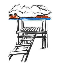 Sketch of bridge hand drawn ladder landscape vector