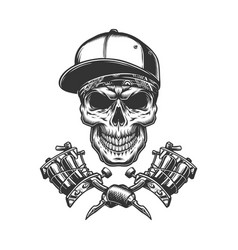 skull in bandana and baseball cap vector image