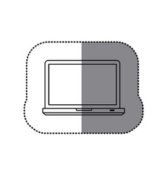 sticker silhouette tech laptop computer icon vector image