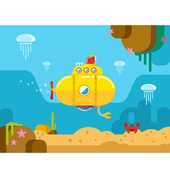Submarine Under Water Flat vector image