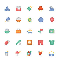 Summer Colored Icons 6 vector