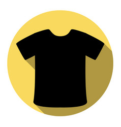 t-shirt sign flat black icon with flat vector image