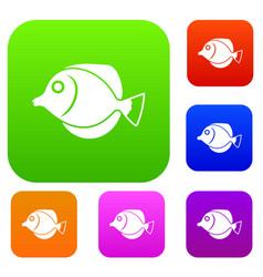 Tang fish zebrasoma flavescens set collection vector