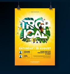 Tropical summer party flyer design vector