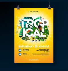 tropical summer party flyer design with vector image