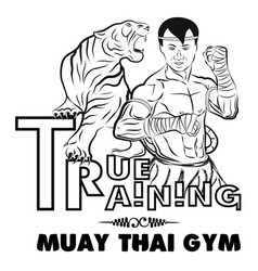 True training 1 thai boxer and tiger vector