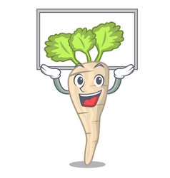 Up board character parsnip root with leaf cartoon vector