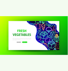 vegetable neon landing page vector image