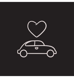 Wedding car with heart sketch icon vector image