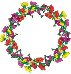 Wreath of flowering branches with pink red and vector