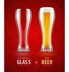Beer in the glass and empty vector image vector image
