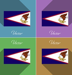 Flags American Samoa Set of colors flat design and vector image