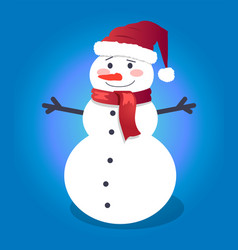 handsome snowman in red hat with vector image vector image