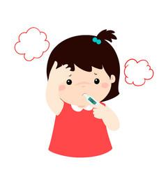 Little girl got high temperature cartoonxa vector