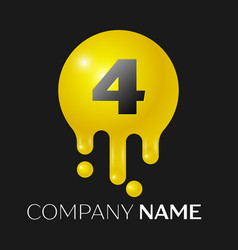 number four splash logo yellow dots and bubbles vector image