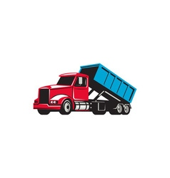 Roll-Off Truck Side Up Retro vector image vector image