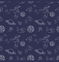 seamless pattern with cats in space vector image vector image