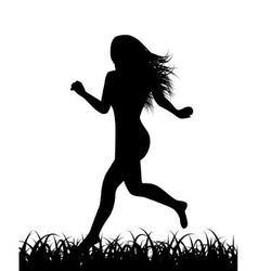 silhouette of running woman vector image vector image