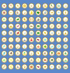 100 wealth icons set cartoon vector image