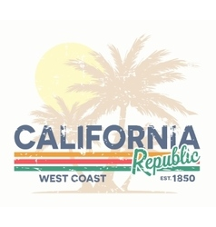 California republic typography Vintage tee print vector image