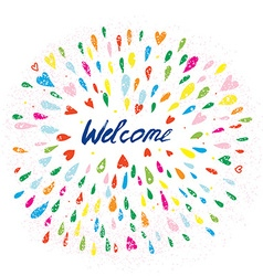 Welcome artistic banner with splashes and hearts vector image