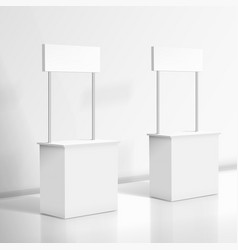 3d realistic blank white promo stand vector image